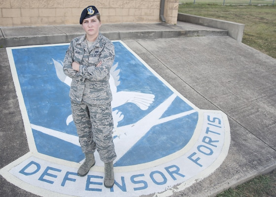 Senior Airman Kaley Weir is a corrections specialist with the 802nd Security Forces Squadron at Joint Base San Antonio-Lackland Medina Annex. Weir dreams to become a game warden following her military career. (U.S. Air Force photo by Airman 1st Class Lauren Parsons/Released)