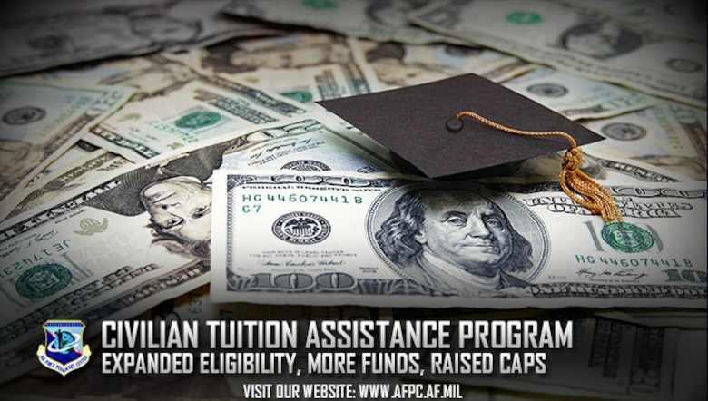 The Air Force has revamped its civilian tuition assistance program, allocating $1 million of tuition assistance to all permanent, full-time appropriated fund employees, including those in wage-grade positions. The revised program also includes higher monetary caps and more program flexibility. (U.S. Air Force graphic by Kat Bailey)