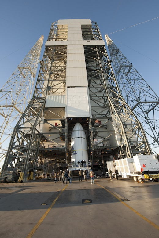 The U.S. Air Force's eighth Wideband Global SATCOM (WGS) satellite, encapsulated in a 5-meter payload fairing, is mated to a Delta IV booster at Cape Canaveral Air Force Station's Space Launch Complex (SLC)-37. (Photo courtesy of ULA)
