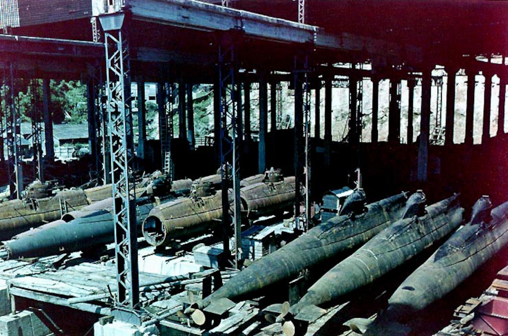 Sometime in the 1940s, submarines await deployment at what is now DLA Distribution's facility in Yokosuka, Japan.