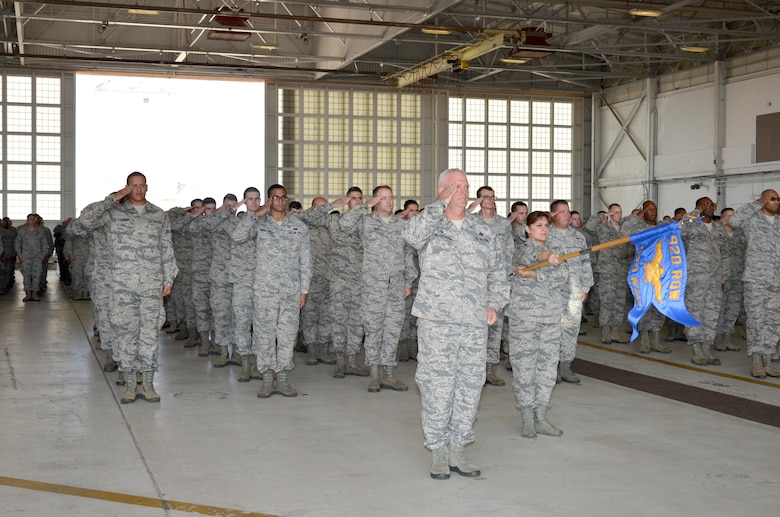 Airmen of the 920th Rescue Wing, Patrick Air Force Base, Florida, stood in formation as Col. Kurt Matthews assumed command of the 920th RQW, Dec. 3 in a change of command ceremony. Matthews replaced Col. Jeffrey L. Macrander who served as the 920th RQW commander from August 2011 to December 2016. Approximately 400 civilian and military guests attended. (U.S. Air Force photo./1st Lt. Anna-Marie Wyant)