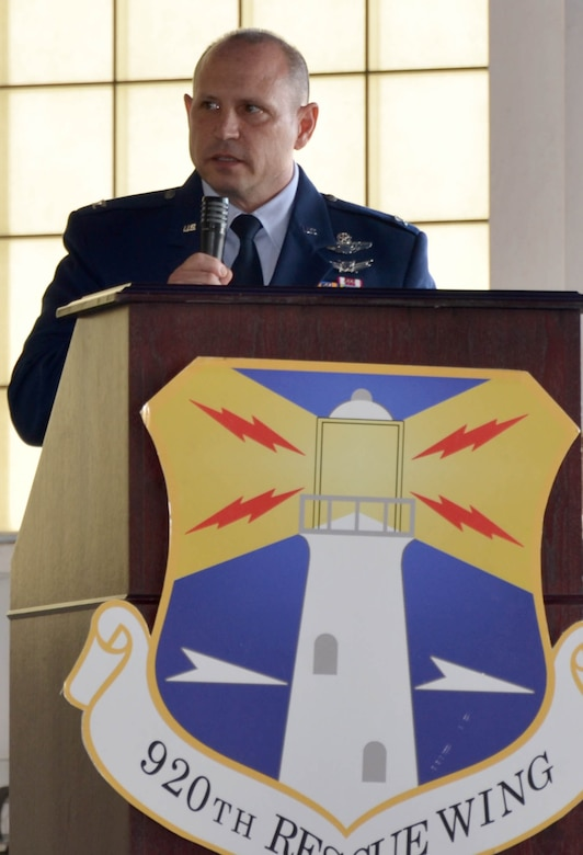 After assuming command of the 920th Rescue Wing, Patrick Air Force Base, Florida,  Dec. 3, Col. Kurt Matthews addressed wing Airman. Matthews replaced Col. Jeffrey L. Macrander who served as the 920th RQW commander from August 2011 to December 2016. Approximately 400 civilian and military guests were in attendance. (U.S. Air Force photo./1st Lt. Anna-Marie Wyant)