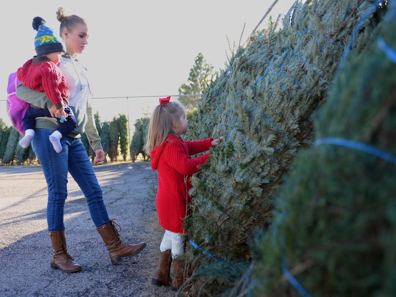 Tashina Thompson, spouse of Senior Airman Jordan Thompson, who is currently serving overseas, watches as her daughter Allyanna picks a Christmas tree during Ellsworth's ninth annual Trees for Troops event Dec. 2, 2016. This year was Thompson's first time participating in the program, and says it was a wonderful feeling being able to have a Christmas tree. (U.S. Air Force photo by Airman 1st Class Denise M. Jenson)