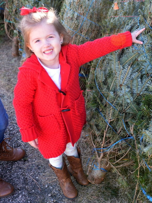 Allyanna Thompson, daughter of Tashina and Senior Airman Jordan Thompson, who is currently serving overseas, smiles as she chooses her favorite Christmas tree during Ellsworth's ninth annual Trees for Troops event Dec. 2, 2016. Trees for Troops is a national program dedicated to providing military families with real Christmas trees each year during the holiday season. (U.S. Air Force photo by Airman 1st Class Denies M. Jenson)