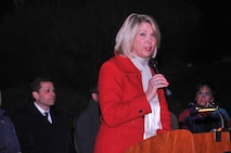 Omaha Mayor Jean Stothert was a guest speaker at the inaugural 'Veterans Shine On' ceremony at Memorial Park in Omaha, Nebraska, Dec. 2. (U.S. Air Force photo by D.P. Heard)