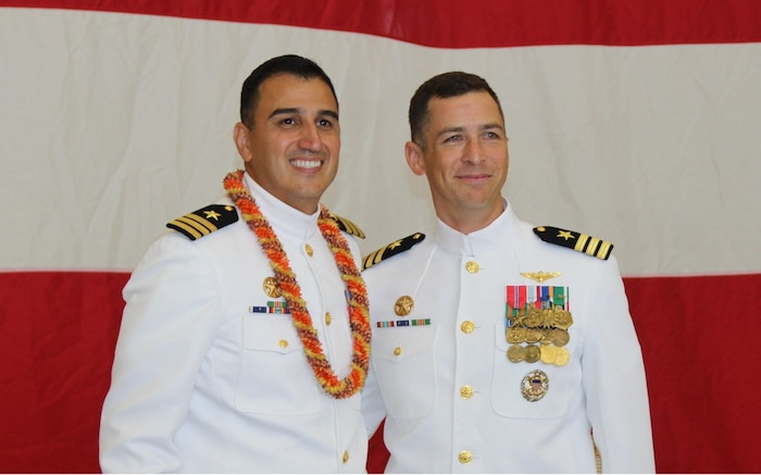 """Cmdr. Teague Suarez relieved Cmdr. Tony Chavez as the 34th Commanding Officer of HSM-37 at Hangar 103 aboard Marine Corps base Hawaii during a change of command ceremony on December 1, 2016. Cmdr. Suarez is looking forward to leading the """"easyriders,"""" and is extremely honored to be the next commanding officer. """"Over the last year, our squadron has been extremely successful and we are poised to do more outstanding things in the near future,"""" said  Cmdr. Suarez, a San Antonio, Texas, native. """"We will continue to put exceptional, combat-ready detachments to sea to support our nation's missions across the globe."""" (U.S. Navy by PO3 Aljohn Ponce)"""