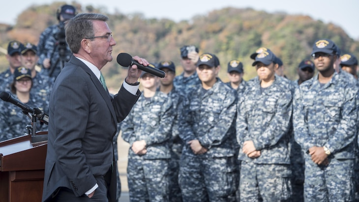Defense Secretary Ash Carter told sailors serving aboard the guided-missile destroyer USS John S. McCain that they are in the midst of the most important strategic transition the United States is undertaking at an essential place and time.