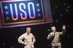 Marine Corps Gen. Joe Dunford, chairman of the Joint Chiefs of Staff, and Army Command Sgt. Maj. John W. Troxell, senior enlisted advisor to the chairman of the Joint Chiefs of Staff, address service members at Incirlik Air Base during the USO Holiday Tour, Dec. 5, 2016. DoD photo by Navy Petty Officer 2nd Class Dominique A. Pineiro