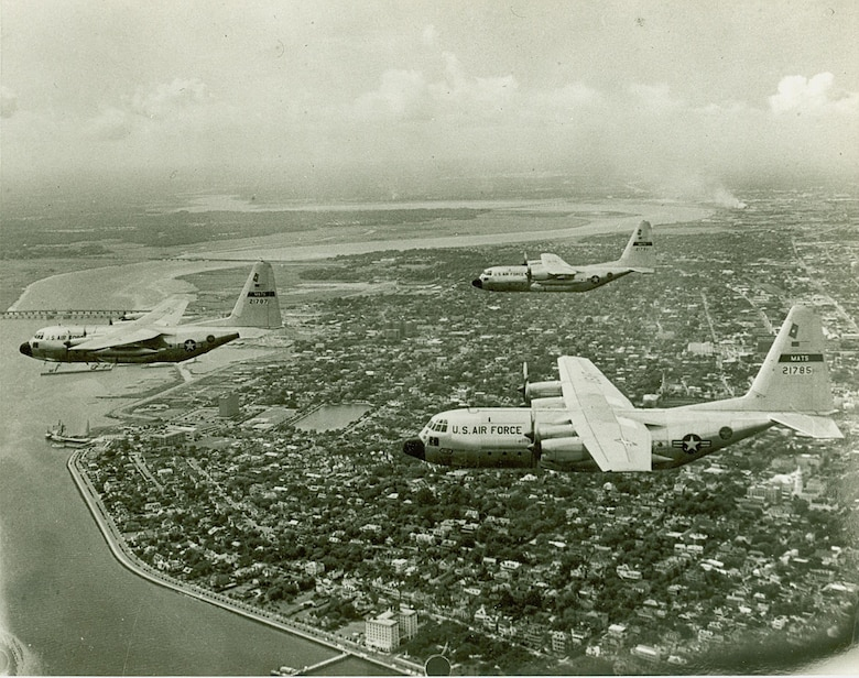 The C-130 Hercules was stationed at Charleston Air Force Base, South Carolina from 1962 to 1967. During the same time, the C-124 Globemaster II and C-141 Starlifter were stationed here as well.