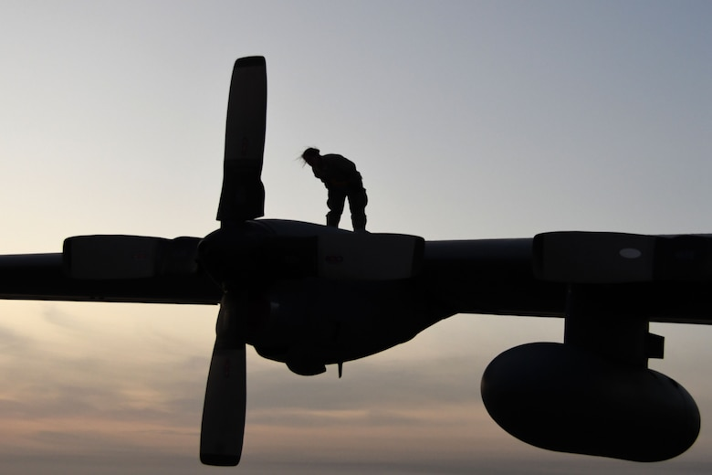 A 386th Expeditionary Aircraft Maintenance Squadron Aircraft Maintenance Unit maintainer inspects a C-130H Hercules at an undisclosed location in Southwest Asia Dec. 4, 2016. The maintainers inspect aircraft thoroughly before and after each flight. (U.S. Air Force photo/Senior Airman Andrew Park)