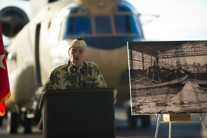 During a wreath-laying and tribute ceremony at Wheeler Army Airfield, Hawaii, Dec. 5, 2016, Pearl Harbor survivor Thomas Petso describes the Dec. 7, 1941, Japanese attack on the field. More than 30 men were killed and 50 injured at the airfield in the attack. DoD photo by Lisa Ferdinando