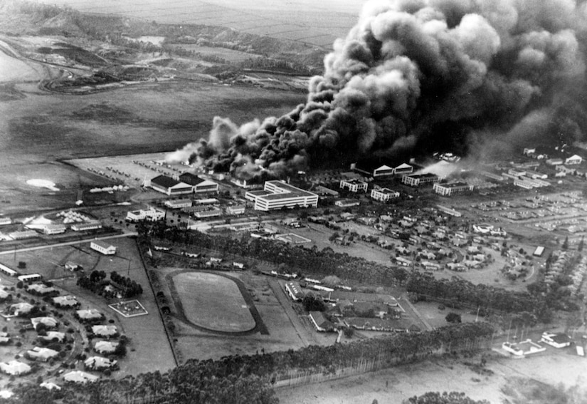 Planes and hangars burning at Wheeler Army Base during the Japanese attack on Pearl Harbor, Hawaii, Dec. 7, 1941. Navy photo