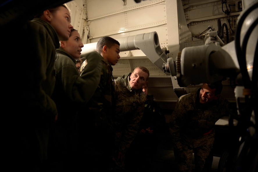 Civil Air Patrol cadets from Squadron 126 are given a tour of a C-17 Globemaster III by the 726th Air Mobility Squadron at Spangdahlem Air Base, Germany, Dec. 1, 2016. The CAP is celebrating their 75th anniversary. (U.S. Air Force photo by Staff Sgt. Jonathan Snyder)
