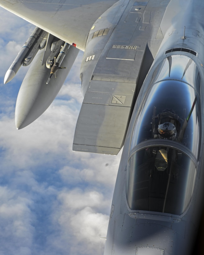 An U.S. Air Force F-15C Eagle assigned to the 48th Fighter Wing from RAF Lakenheath, England, prepares to take fuel from a KC-135 Stratotanker assigned to the 349th Air Mobility Wing from Beale Air Force Base, Calif., Dec. 2, 2016, over the Atlantic Ocean. Both the F-15D and F-15C models are equipped with a Production Eagle Package which enables them to carry 2,000 pounds of additional internal fuel and have a maximum takeoff weight of up to 68,000 pounds. (U.S. Air Force photo by Staff Sgt. Micaiah Anthony)