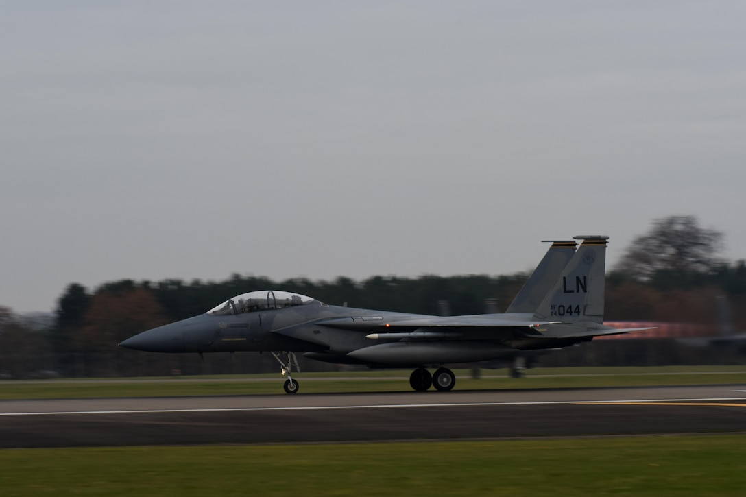 An F-15D Eagle assigned to the 493rd Fighter Squadron takes off Dec. 2, 2016, from RAF Lakenheath, England. The jet carried U.S. Air Force Col. Thomas Torkelson, 100th Air Refueling Wing commander, on a familiarization flight in an F-15. (U.S. Air Force photo/Airman 1st Class Eli Chevalier)