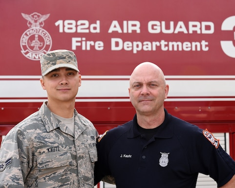 As John Kautz (right) an Illinois Air National Guard firefighter prepares for retirement, his son, Airman 1st Class Shawn Kautz, has already begun following his path to an identical career at the 182nd Airlift Wing in Peoria, Illinois.