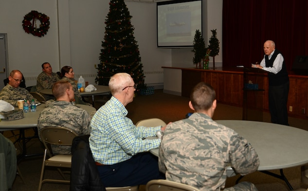Retired Maj. Gen. Donald Brown (right), former 62nd Airlift Wing commander speaks at the Lunch and Leadership Lecture Dec. 2, 2016, at Joint Base Lewis-McChord, Wash. Brown shared his experiences in the military and spoke about how he's identified many aspects of leadership displayed by the Airmen he worked with that he didn't realize during his career.  (U.S. Air Force photo/Senior Airman Jacob Jimenez)