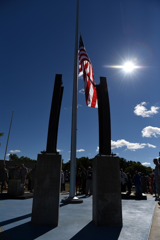 The Northwest Ohio 9/11 Memorial, located at the 180th Fighter Wing in Swanton, Ohio, was unveiled following the completion of phase 1 of construction on Sept. 11, 2016. Airmen with the 180FW and service members and civilians across the country marked the 15th anniversary of 9/11. Nearly 3,000 innocent lives were lost during the attacks.