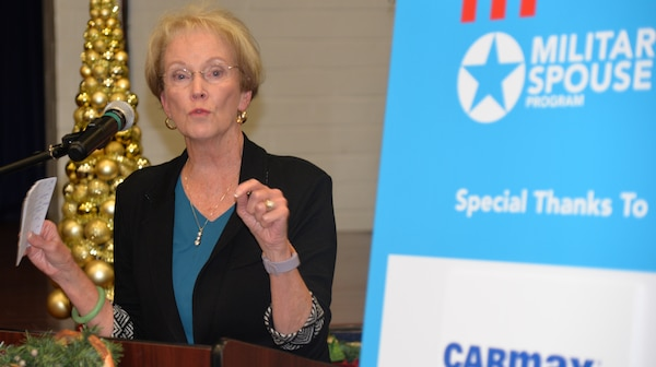 Guest Bonnie Amos, Hiring our Heroes ambassador and the wife of retired Gen. James Amos, former Commandant of the U.S. Marine Corps, speaks to the people gathered for the Hiring Our Heroes event  at the Joint Base San Antonio-Fort Sam Houston Military & Family Readiness Center Friday.
