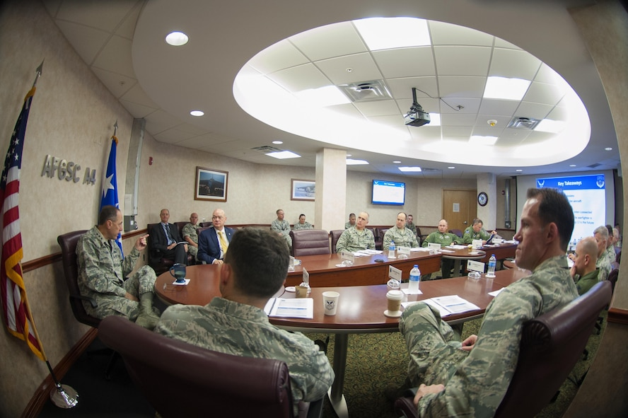 Lt. Gen. Lee K. Levy II, commander, Air Force Sustainment Center, addresses Air Force Global Strike Command wing, vice wing and operations group commanders about how AFSC can support the deterrence mission. (U.S. Air Force photo/Senior Airman Joseph Raatz)