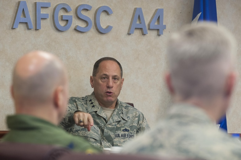 Lt. Gen. Lee K. Levy II, Commander Air Force Sustainment Center, addresses Air Force Global Strike Command wing, vice wing and operations group commanders about how AFSC can support the deterrence mission during the Senior Officer Sustainment Course. The two-day course focused on logistics, maintenance and asset management processes. (U.S. Air Force photo/Senior Airman Joseph Raatz)