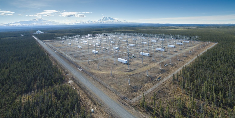 View of the High Frequency Active Auroral Research Program array with Mount Drum in the distance. Under a Cooperative Research and Development Agreement between the Air Force Research Laboratory's Space Vehicles Directorate and the University of Alaska Fairbanks, AFRL transitioned the site to the university, ensuring that twenty-five years of atmospheric research will continue at the facility. (Courtesy photo / Jessica Matthews, University of Alaska Fairbanks)