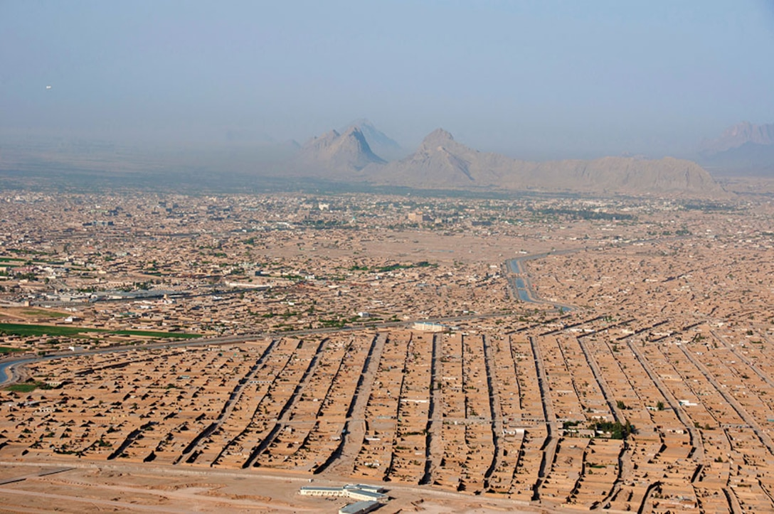 Kandahar City, Afghanistan from above, the same landscape Special Forces officers would view from Maholic Mountain.