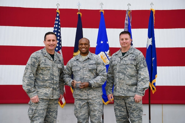 The 110th Attack Wing, Battle Creek, Mich., had their annual town hall meeting December 3, 2016. During this event Senior Airman Javonte Lofton was awarded the 110th Attack Wing Airman of the Year.  He is assigned to the 110th  Logistics Readiness Squadron as a Material Management Specialist.  Senior Airman Lofton maintained 100% inventory for over 450 small arms and light weapons valued at over $323K.  He enabled war fighter capability by expeditiously issuing 100% of mobility equipment for 150 AEF deploying personnel.  (U.S. Air National Guard photo by Tech. Sgt. Jason A. Boyd/Released