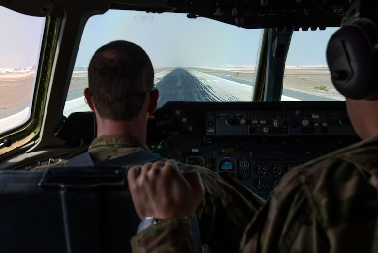 U.S. Air Force 1st Lt. Justin, a KC-10 Extender pilot deployed in support of Operation Inherent Resolve, prepares to take off at an undisclosed location in Southwest Asia, Nov. 20, 2016. The KC-10 Extender is an Air Mobility Command advanced tanker and cargo aircraft designed to provide increased global mobility for U.S. armed forces. (U.S. Air Force photo by Staff Sgt. R. Alex Durbin)