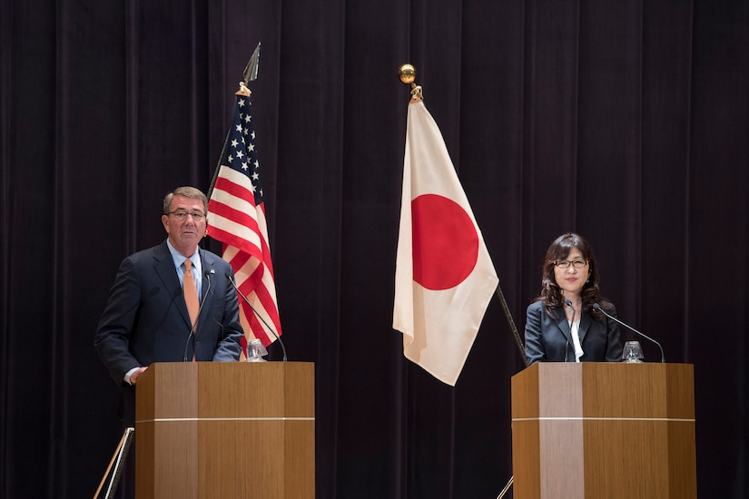 Defense Secretary Ash Carter and Japanese Defense Minister Tomomi Inada host a joint news conference in Tokyo, Dec. 7, 2016. DoD photo by Air Force Tech. Sgt. Brigitte N. Brantley