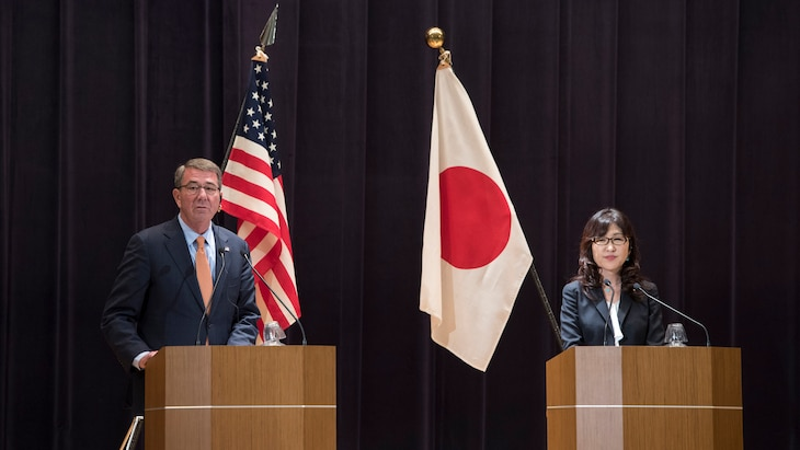 Defense Secretary Ash Carter and Japanese Defense Minister Tomomi Inada held a news conference in Tokyo yesterday. Carter is on an around-the-world trip to thank service members, meet with allies and advance DoD priorities.