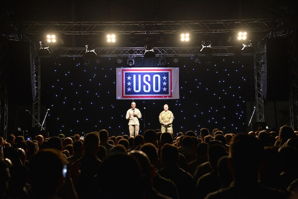 U.S. Marine Corps Gen. Joseph F. Dunford, Jr., chairman of the Joint Chiefs of Staff, and U.S. Army Command Sgt. Maj. John W. Troxell, senior enlisted advisor to the chairman of the Joint Chiefs of Staff, address service members during the 2016 USO Holiday Visit Dec. 5, 2016, at Incirlik Air Base, Turkey. Dunford and Troxell visited Incirlik as a part of the 2016 USO Holiday Visit, a tradition that started in 2003. (U.S. Air Force photo by Senior Airman John Nieves Camacho)