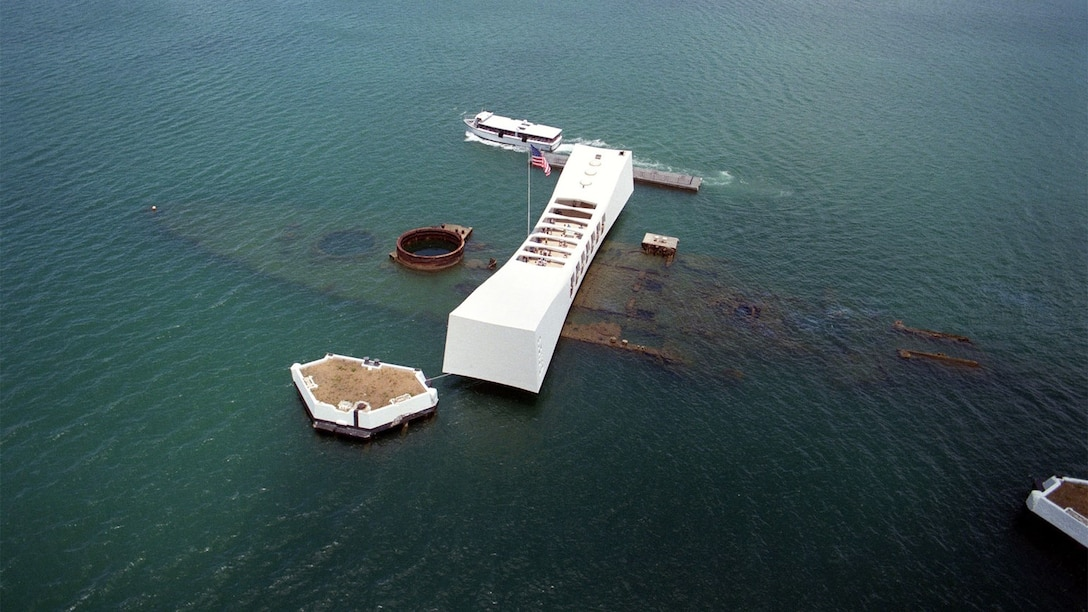 The USS Arizona as it is today. Survivors of the attack who were assigned to the USS Arizona can be interred in the ship. To date 32 survivors have chosen the honor. (Courtesy photo)