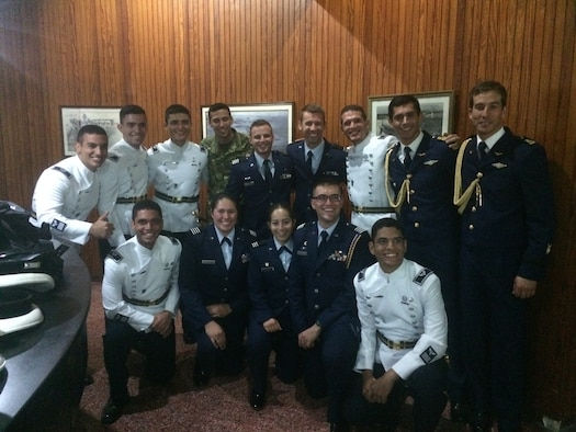 Air Force Reserve Officer Training Corps cadets visit with Uruguayan Air Force Academy students for their 100th anniversary celebration, Nov. 22, 2016. The Uraguayan Air Force Academy, Escuela Militar de Aeronáutica, extended the invitation to AFROTC to come join in their celebration. (Courtesy Photo)