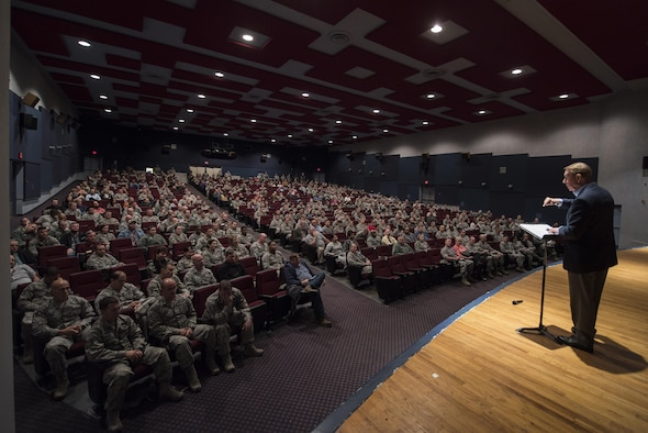 Gary Chapman, well renowned speaker and author of the 5 Love Languages, talks with Airmen about how the 5 Love Languages apply within the workplace at Sheppard Air Force Base, Texas, Dec. 6, 2016. Chapman spoke four different times to share his knowledge about communicating and adding value to people with permanent party Airmen, Airmen in Training and military couples. (U.S. Air Force photo by Senior Airman Kyle E. Gese)