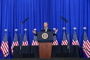 President Barack Obama addresses members of Team MacDill during his final visit as commander in chief, at MacDill Air Force Base, Fla. Dec. 6, 2016. The president thanked the men and women for their service and spoke on counter terrorism measures, national security and highlighted accomplishments of the U.S. military. (U.S. Air Force photo by Tech. Sgt. Dana Flamer)