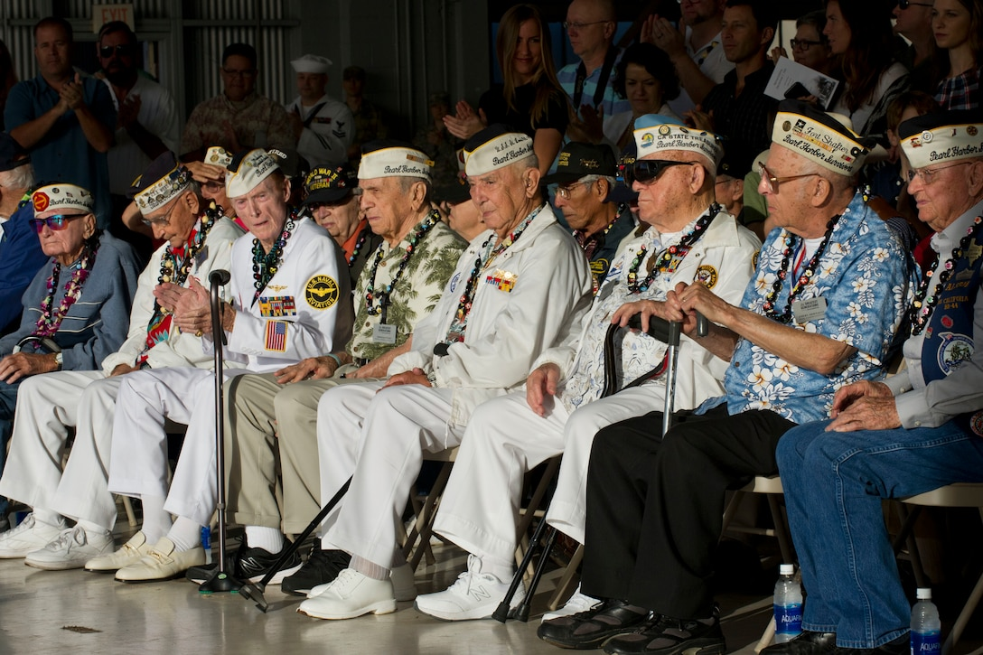 Pearl Harbor survivors attend a wreath-laying and tribute ceremony Dec. 5, 2016, to honor the more than 30 men killed and 50 injured at Wheeler Army Airfield, Hawaii.