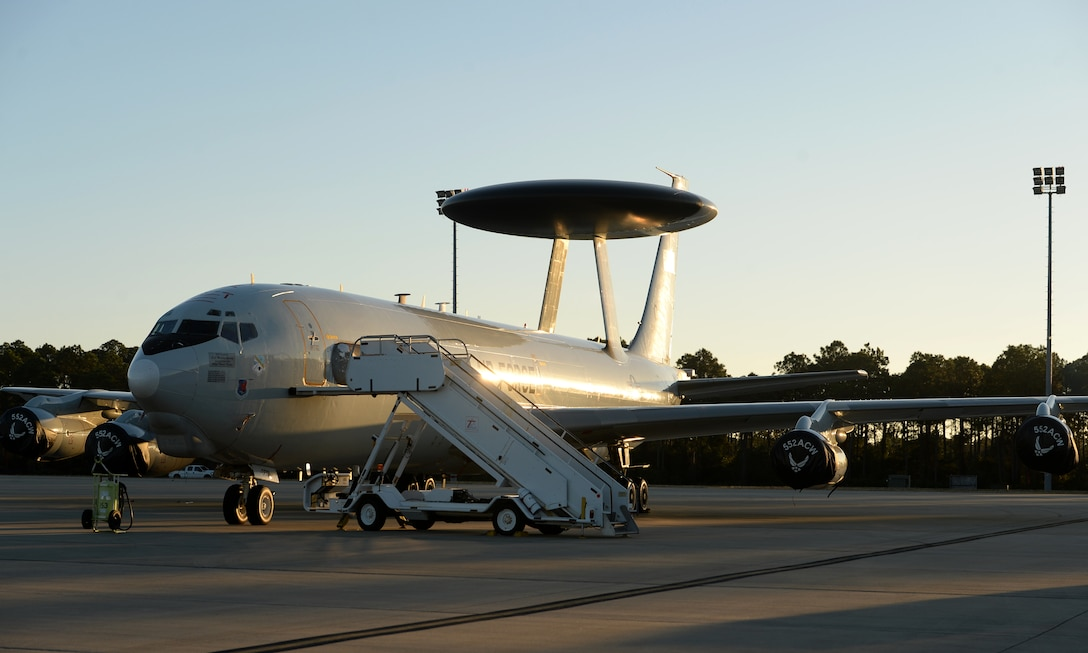 A U.S. Air Force E-3 Sentry Airborne Warning and Control System from 552nd Air Control Wing, Tinker Air Force Base, Okla., sits on the flightline at Tyndall Air Force Base, Fla., Dec. 6, 2016. The AWACS is at Tyndall in support of concurrent aerial exercises Checkered Flag 17-1 and Combat Archer 17-3 that runs Dec. 5-16. (U.S. Air Force photo by Airman 1st Class Isaiah J. Soliz/Released)
