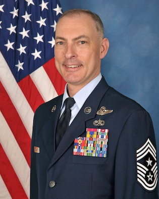 CMSgt  Larry C. Williams, Jr., Command Chief, U.S. Air Force Expeditionary Center,  bio photo taken January 15, 2016.