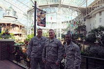 (From right to left) Chief Master Sgt. Adrian Darby, Tech. Sgt. Brian Nohr and  Senior Airman Corey Speight, pose for a group photo at the Gaylord Opryland Resort & Convention Center on October 30, 2016 in Nashville, Tennesee. The three Airman attended the 49th Annual Airlift Tanker Association Convention and Air Mobility Technology Exposition & Symposium which was held at the Gaylord Opryland Resort & Convention Center.