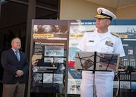 "161206-N-LY160-041 PEARL HARBOR (Dec. 6, 2016) Rear Adm. Fredrick ""Fritz"" Roegge, commander, Submarine Force, U.S. Pacific Fleet, addresses guests during an unveiling of a new submarine exhibit at the USS Bowfin Submarine Museum and Park. Dec. 7, 2016, marks the 75th anniversary of the attacks on Pearl Harbor and Oahu. The U.S. military and the State of Hawaii are hosting a series of remembrance events throughout the week to honor the courage and sacrifices of those who served Dec. 7, 1941, and throughout the Pacific theater. As a Pacific nation, the U.S. is committed to continue its responsibility of protecting the Pacific sea-lanes, advancing international ideals and relationships, well as delivering security, influence and responsiveness in the region. (Navy Photo by Petty Officer 2nd Class Michael H. Lee/Released)"