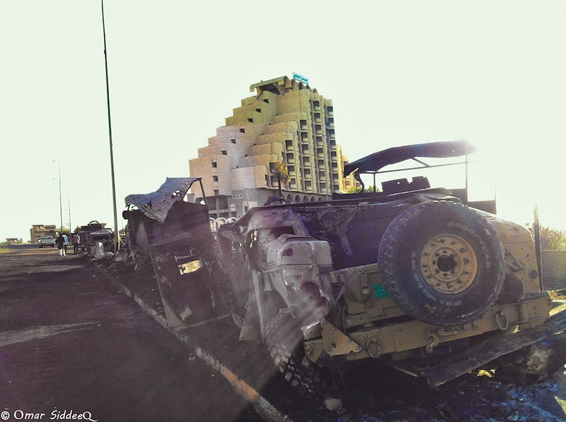 Humvee down after Islamic State of Iraq and the Levant attack in Mosul, Iraq 2014-06-14