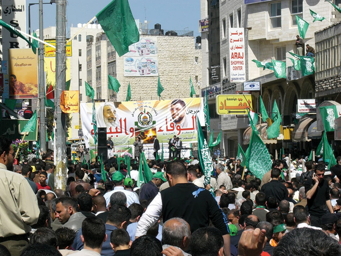 In Ramallah, a Palestinian city located in the central West Bank, crowds of people gather to show their support for Hamas. In certain parts of Palestine, Hamas is viewed as a protector against the Israel Defense Force (IDF).