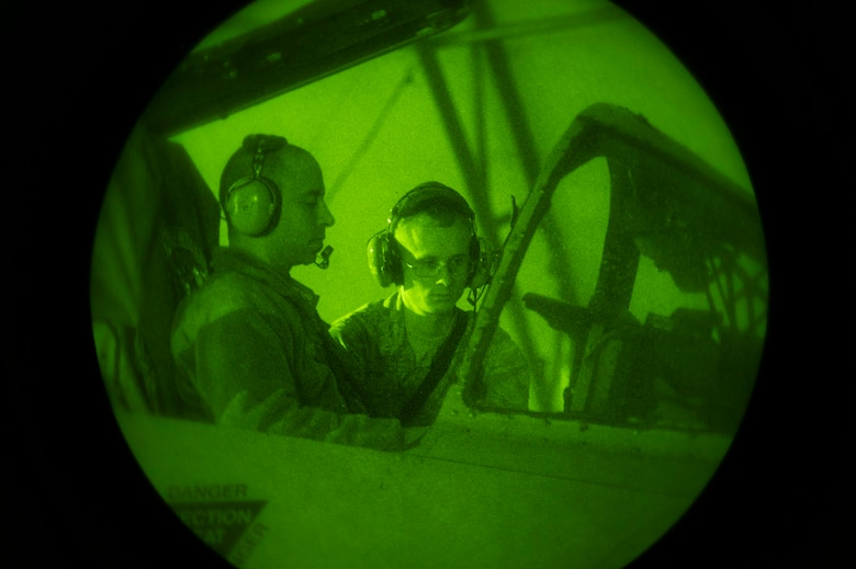 Staff Sgt. Josh Christy, left, and Senior Airman Hunter Warren, 74th Aircraft Maintenance Unit avionics specialists, check an A-10C Thunderbolt II's radar emissions during Combat Shield, Dec. 5, 2016, at Moody Air Force Base, Ga. After the weeklong evaluation, Maj. Mike Chavannes, the CS mission director assigned to the 53d Electronic War Group, Eglin AFB, Fla., said Moody's aircraft are combat ready with proficient primary threat detection systems and have the ability to successfully detect incoming enemy threats. (U.S. Air Force photo by Airman 1st Class Greg Nash)