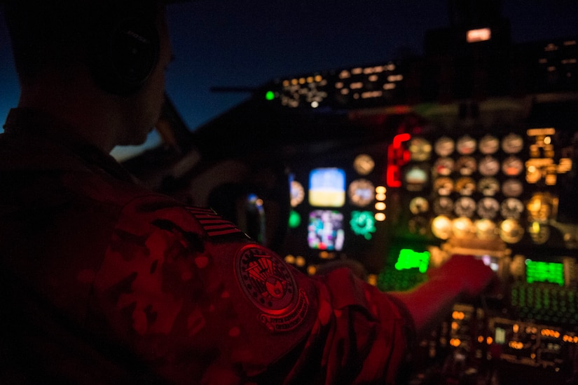 Air Force Capt. Herbert Duke, 340th Expeditionary Air Refueling Squadron KC-135 Stratotanker pilot, flies in support of a Combined Joint Task Force Operation Inherent Resolve mission over Iraq Nov. 29, 2016. The KC-135 provides aerial refueling capabilities for the task force as it supports the Iraqi security forces and the partnered forces in Syria as they work to liberate territory and people under the control of the Islamic State of Iraq and the Levant. Air Force photo by Staff Sgt. Matthew B. Fredericks