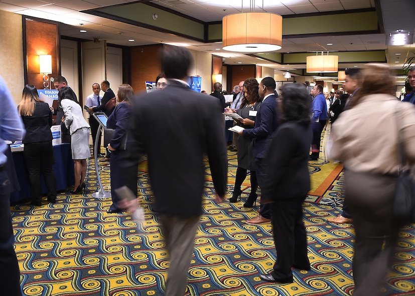 The hallways of the Los Angeles Airport Marriott were a flurry of activity as personnel from the Space and Missile Systems Center and Air Force Personnel Center hosted an Air Force Civilian Service Job Fair Nov. 16. More than 1,000 pre-registered applicants, plus another 500 in attendance, made the largest one-day hiring event ever hosted by the Air Force a success.