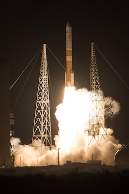 A Delta IV rocket carrying WGS-8 satellite lifts off from Space Launch Complex-37 at 6:53 p.m. EDT, Dec. 7.