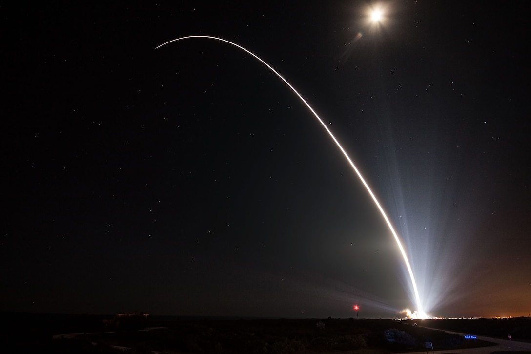 A Delta IV rocket carrying WGS-8 satellite lifts off from Space Launch Complex-37 at 6:53 p.m. EDT, Dec. 7. (Photo courtesy of United Launch Alliance)