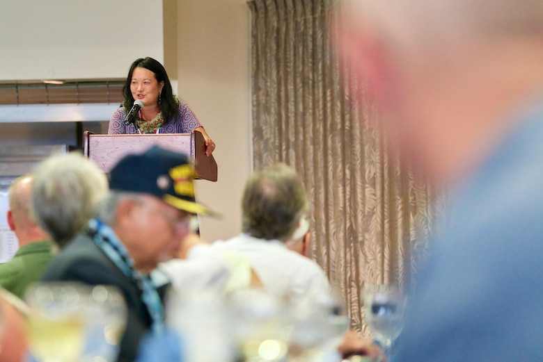 Mrs. Jessie Higa, Hickam Historical Society co-founder, gives opening remarks during a rememberance dinner, Dec. 6, 2016, Joint Base Pearl Harbor-Hickam, Hawaii. The dinner was part of a week long celebration commemorating the 75th anniversary of the attacks on Pearl Harbor, Hickam Field and Oahu. The U.S. military and the State of Hawaii are hosting a series of remembrance events to honor the Pacific Theater's veterans. (U.S. Air Force photo by Tech. Sgt. James Stewart/Released)