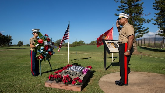 U.S. Marine Brig. Gen. Brian Cavanaugh, deputy commander, U.S. Marine Corps Forces, Pacific, salutes as a wreath is laid for fallen Marines at Barber's Point Golf Course in Kapolei, Hawaii, Dec. 6, 2016. The commemoration was to honor the four Marines killed in the attack at Marine Corps Air Station Ewa Dec. 7, 1941 during the attack on Pearl Harbor and Oahu. The U.S. military and the State of Hawaii are hosting a series of remembrance events to honor the courage and sacrifices of Pacific Theater veterans.